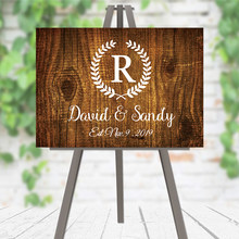 Party Sign Wedding Wooden Welcome Sign Rustic Wedding Decoration Custom Name and Date Wedding Welcome Sign Guest Signature(China)