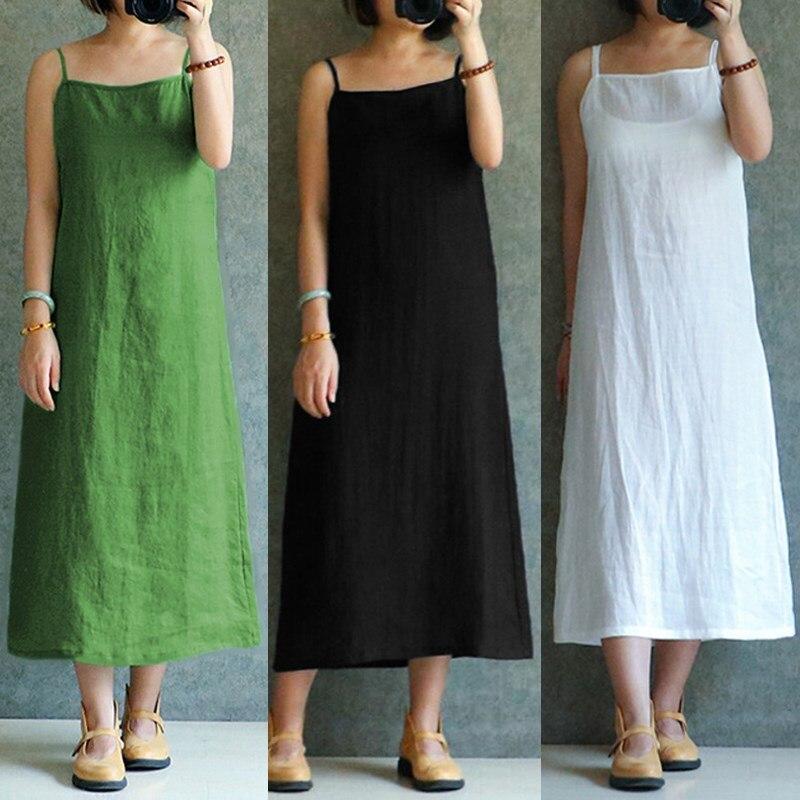 Celmia Summer Linen Dress 2018 Fashion Women Sexy Spaghetti Straps Loose Beach Dresses Casual Midi Vestidos Sundress Plus Size