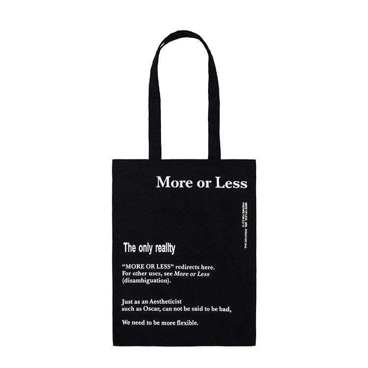 More Or Less Canvas Tote Bag Handmade Pure Cotton Canvas Shopping School Books Trip Bag Women Shoulder Bag Shopping Bags