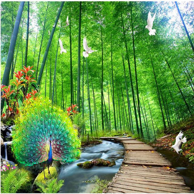 Natural Scenery Wallpapers 3D Peacock Photo Wallpaper For Walls Bamboo Trees Forest Wall Murals