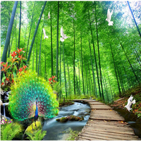 Natural Scenery Wallpapers 3D Peacock Photo Wallpaper for Walls 3D Bamboo Trees Forest Wall Murals for Living Room Home Decor
