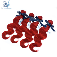 Remy Blue Red Indian Body Wave Hair Bundles Burgundy 1/4 PCS Human Hair Bundles Deals Double Welf Remy Hair Weave Extensions