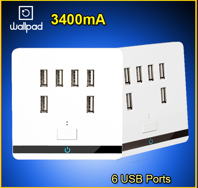Smart Home Wallpad USB Wall Socket AC 12-36V US UK EU AU Wall Socket 3400mA 6 Port 5.0V USB Outlet Power Charger for Cellphone