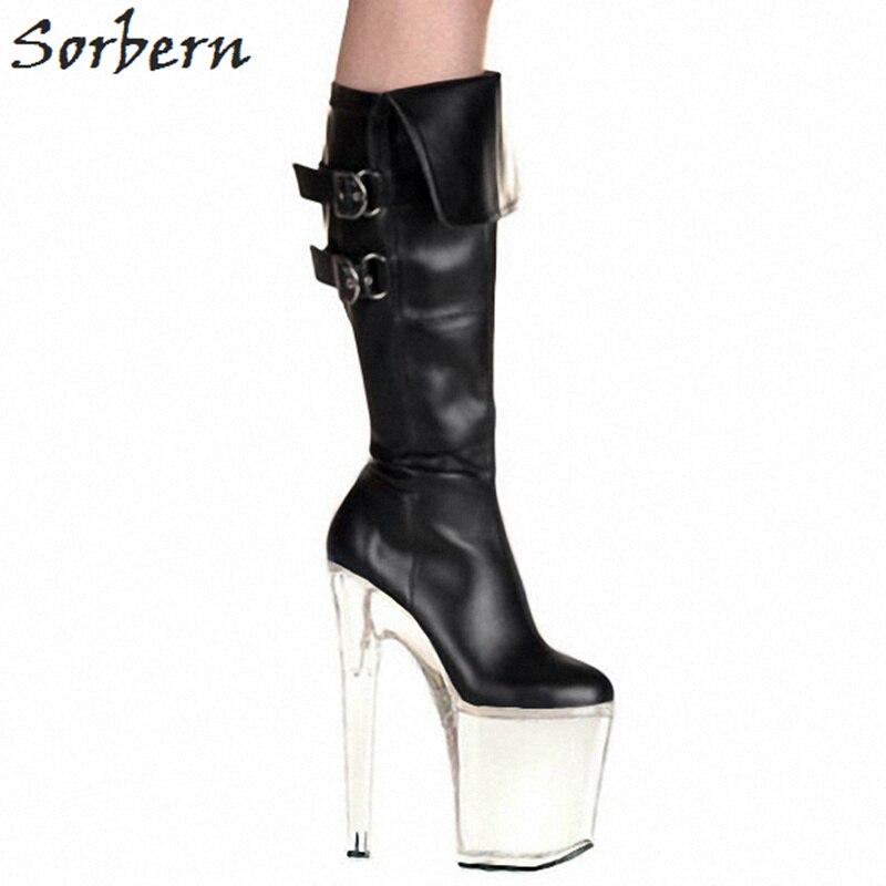 Sorbern 20 سنتيمتر شفافة الكعوب منصة جديد وصول الأحذية 2018 حذاء برقبة للركبة الإناث حار الكعوب الصين حجم 46 الكعوب الأحمر/ الأبيض-في بوت للركبة من أحذية على  مجموعة 1