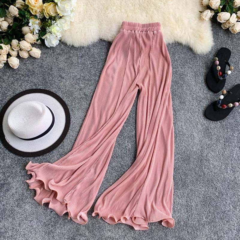 NiceMix 2019 Summer Women Clothing Set Short Design O-neck Top And Wide Leg Pleated Chiffon Pants Fashion Ruffle Trouser One Set