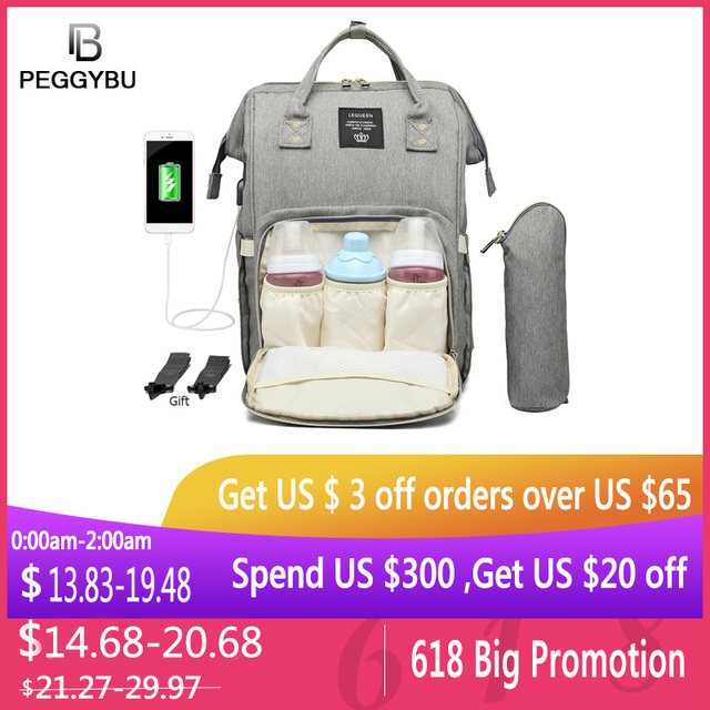 USB Port Maternity Nursing Bag Waterproof Mummy Diaper Bags Large Mother Travel Nappy Backpacks with Hooks Bottle Cover 2019 New