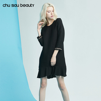 Chu Sau Beauty 2018 Women Spring Summer O Neck Long Sleeve Knee Length Dress Elegnat Women