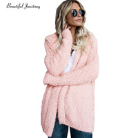 Autumn winter new knitted women cardigan sweater coat 2017 Europe America fashion Slim Long sleeves hooded visavis jacket W38A0