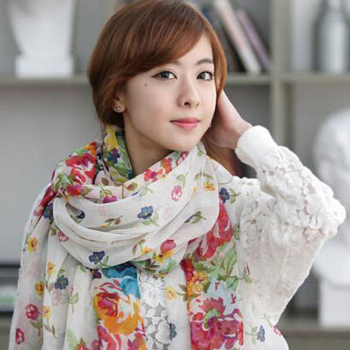 Fashion Women Flower Floral Print Soft Long   Wrap     Scarf   Stole Shawl Xmas Gift