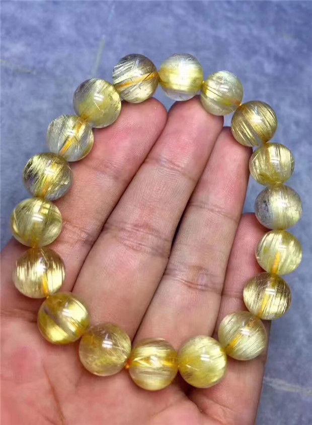 Bracelet de puissance en perles de titane rutilées en or naturel AAAA 11.5mm