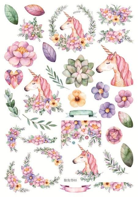 Bricolage Colore Main Peint Licorne Kawaii Autocollants Journal