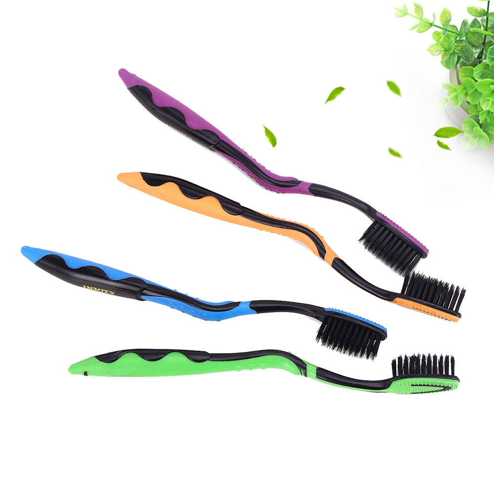 4pcs/pack Bamboo Toothbrush Black Double Ultra Soft Toothbrushes Professional Dental Nano-antibacterial Tooth Brush for Adults 2