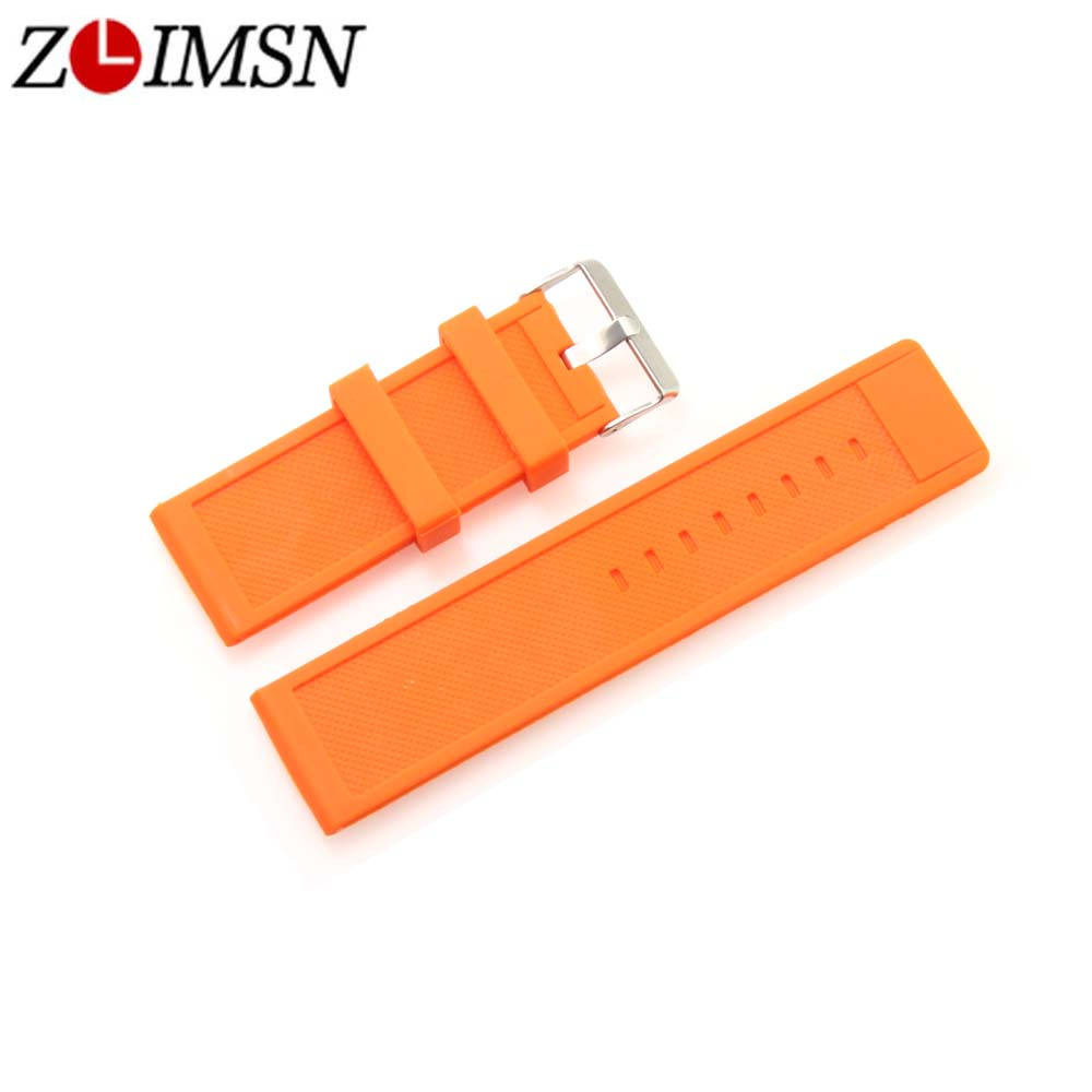ZLIMSN Orange Mens Womens Sport Rubber Watchbands Waterproof Diving Silicone Watch bands Straps 28mm Promotion 28mm new high quality red waterproof diving silicone rubber watch bands straps