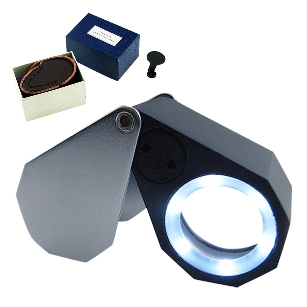 Precision Foldable 10x Magnification Triplet Optic Lens Jeweler Loupe Magnifier + 6 LED light, 21mm lens цена