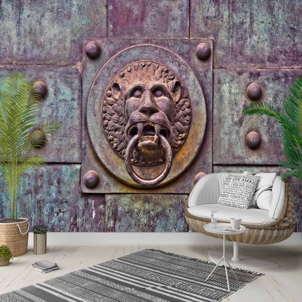 Else Vintage Ottoman  Iron Lion Door Knocker 3d Photo Cleanable Fabric Mural Home Decor Living Room Bedroom Background Wallpaper
