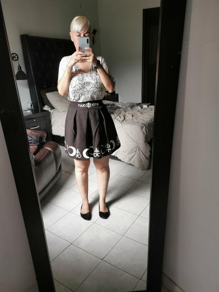 Printed Harajuku Punk Rock Gothic Summer Women Skirts High Waist Mini Skirt Pleated Mini Skirt For Gothic Girls photo review