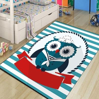 Else Baby Blue Sweet Sailor Cute Owls Animals Boys 3d Print Non Slip Microfiber Children Kids Room Decorative Area Rug Kids  Mat
