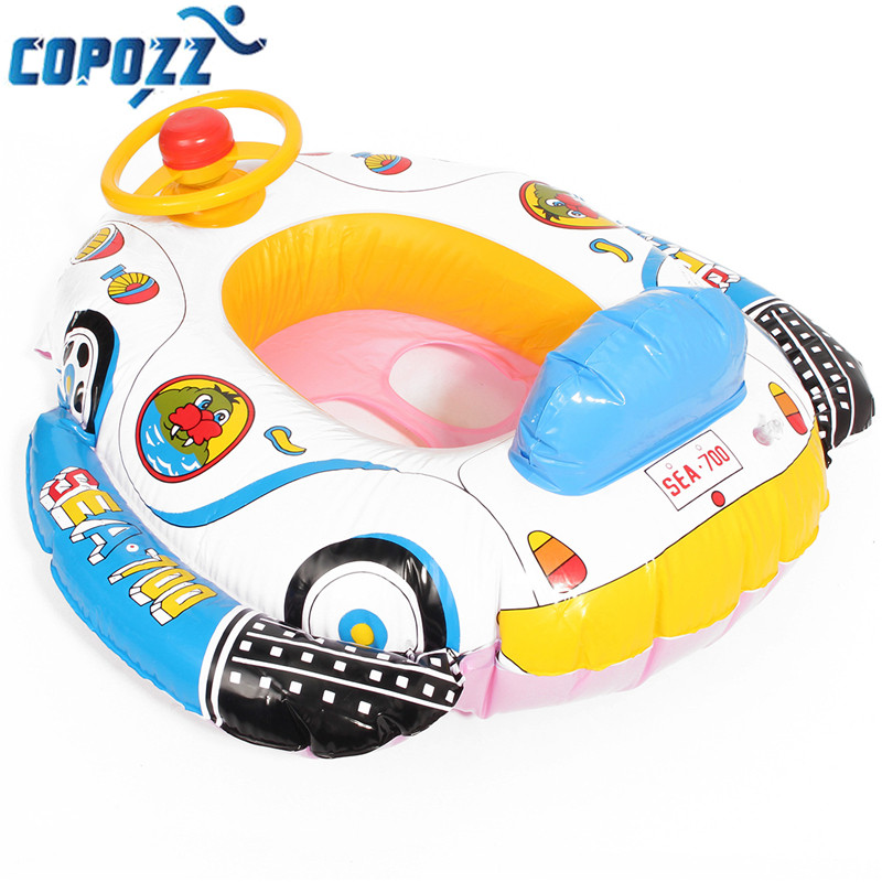 copozz pvc baby float swimming ring inflatable car steering wheel seat float kids trainer toy pool