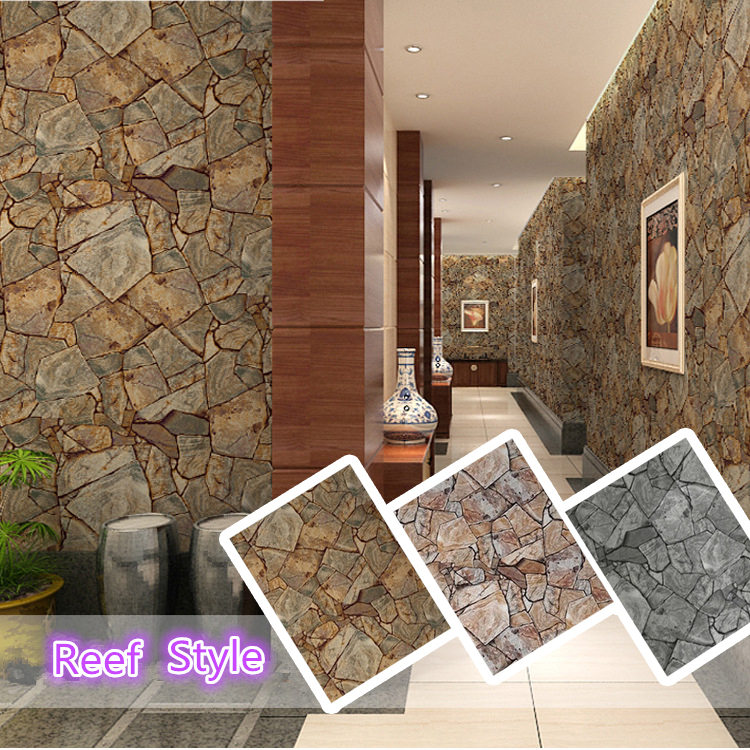 3D PVC Stone Pattern Wallpaper Home Decor Bedroom Reading Room Wall Paper 0.53m*1m