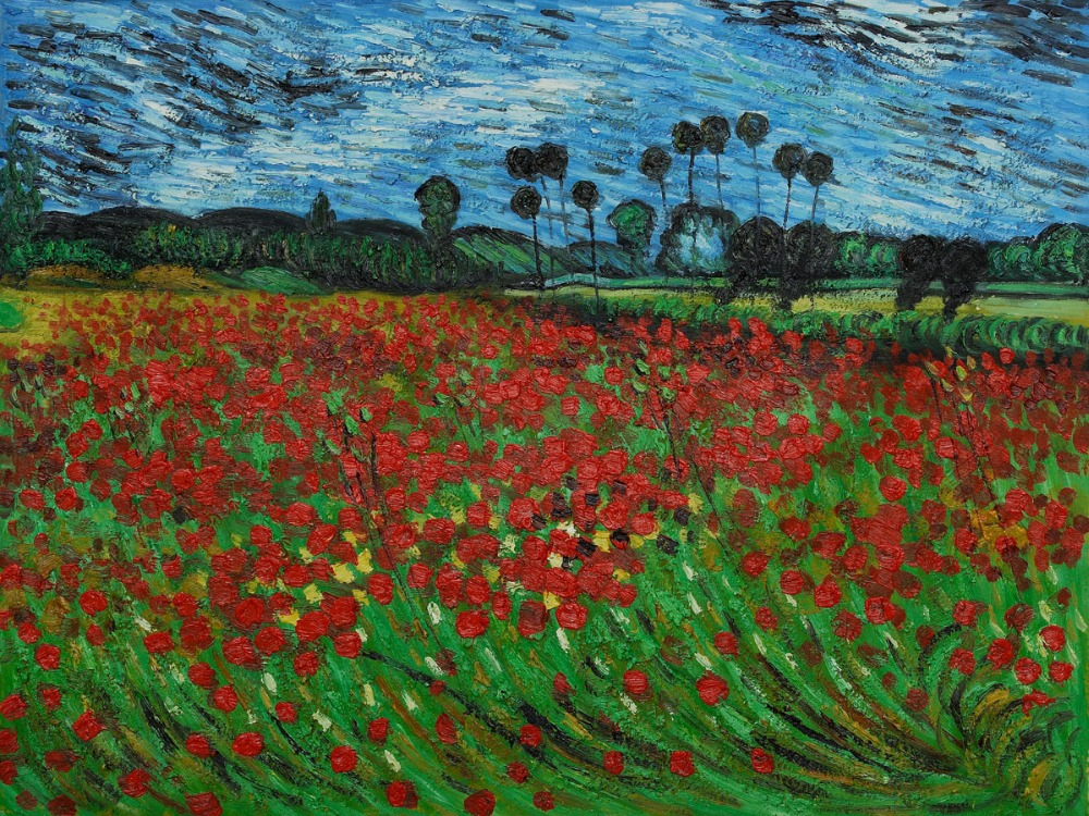 High quality Oil painting Canvas Reproductions Field of Poppies by Van Gogh Painting hand painted