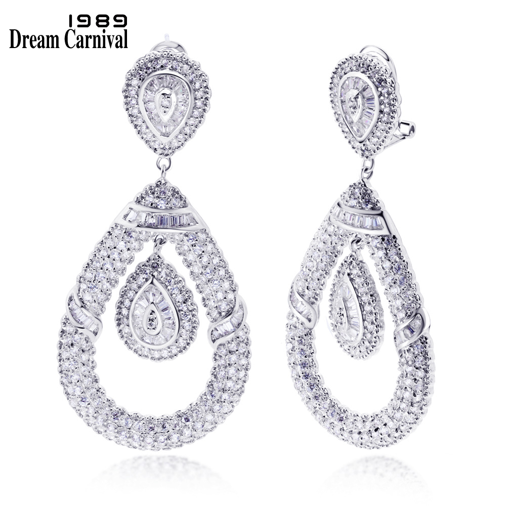 DreamCarnival1989 New Wedding jewelry Crystals earings Big Ethnic design Women Party fashion Dangle white Bridal crystal YE3115 цена