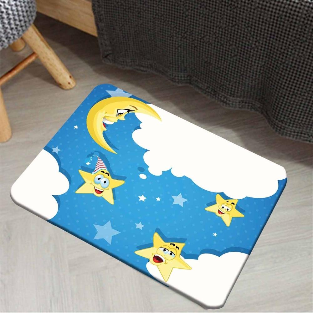 Else Blue Sky White Clouds Yellow Cute Stars Moon 3d Pattern Print Anti Slip Doormat Home Decor Entryway Kids Children Room Mat
