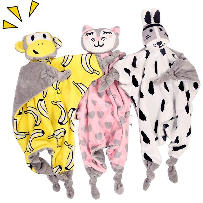 40*45cm Cute Newborn Baby Teething Bibs Appease Towel Grasping Smoothing Calm Blanket Toy