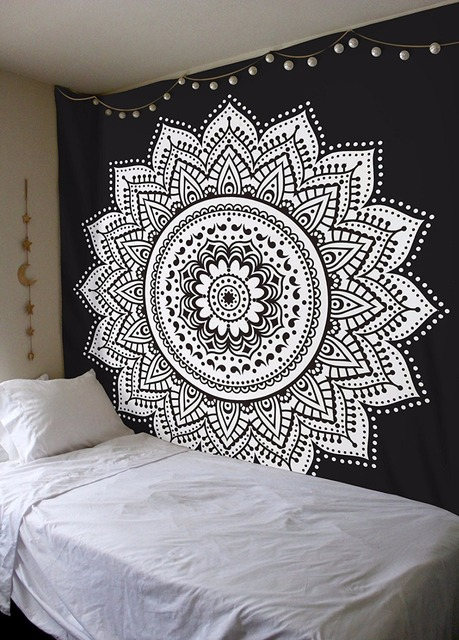 Black home decor Bedroom Home Decor Wall Tapestry Mandala Floral Art Hanging Tapestry Black And White Blue Indian Boho Wall Hippie Tapis Carpet Sheet Aliexpress Home Decor Wall Tapestry Mandala Floral Art Hanging Tapestry Black