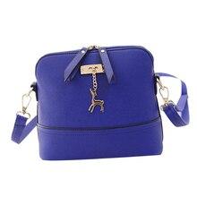 Women Fashion Messenger Bag Faux Leather Handbag Casual Deer Pendant Tote