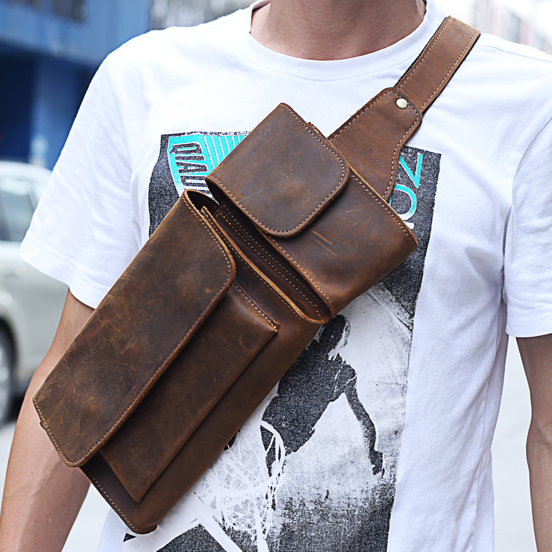Image 2 - 2019 New Vintage Genuine Leather Men Waist Pack Casual Multi  functions Fanny Pack Belt Bag Male Travel Phone Pouch Shoulder Bagbag  fannybelt bagwaist pack