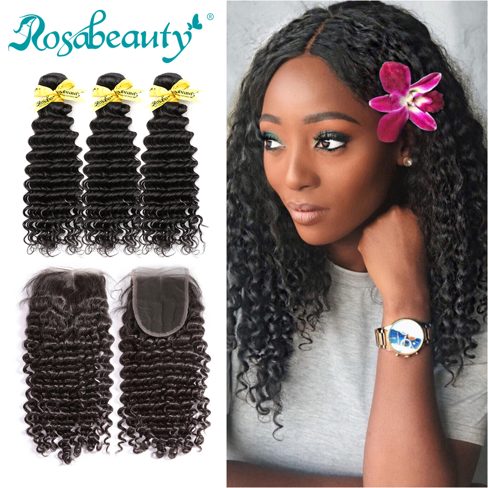 RosaBeauty 8A Human Hair Deep Wave Bundles With Closure Frontal Remy Brazilian Hair Weave Curly 3 Bundles With Lace Closure