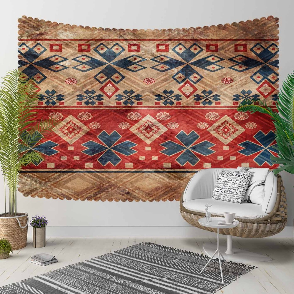 Else Brown Red Blue Ethnic Tradional Ottoman Kilim 3D Print Decorative Hippi Bohemian Wall Hanging Landscape Tapestry Wall Art
