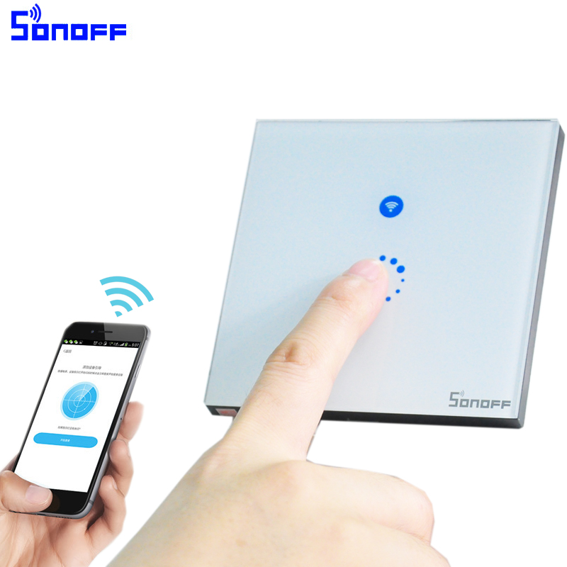 Sonoff Touch Wifi Switch Luxury Glass1 Gang1way Wall