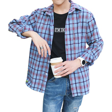 2018 Autumn Japanese Cotton Lattice Turn Down Collar Long Sleeve Plaid Men Shirt Teenager Fashion Casual Loose Male Camisa Homme girls plaid blouse 2019 spring autumn turn down collar teenager shirts cotton shirts casual clothes child kids long sleeve 4 13t