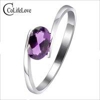 100% anillo de amatista natural de plata 925 sólida plata esterlina anillos de piedras preciosas de compromiso para las mujeres 4*6mm amatista natural piedra preciosa