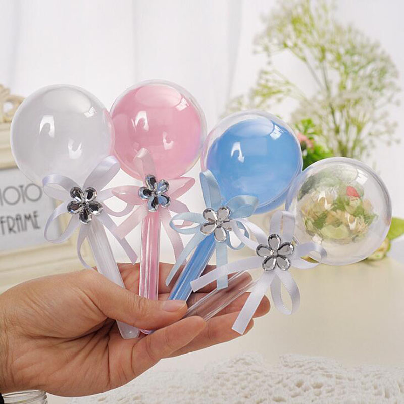 12pcs 6cm Lollipop Transparent Plastic Candy Box Wedding Decoration Baby Shower Christmas Birthday Party Favors Gifts