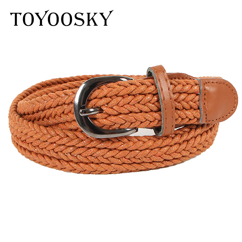 TOYOOSKY Women Knitted Belt Top quality 2 5 cm Wide Woven Stretch Braided Elastic Leather Buckle luxury Canvas 100cm belts in Women 39 s Belts from Apparel Accessories