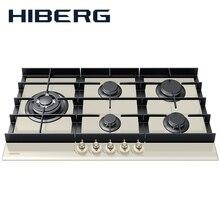 Встраиваемая варочная панель HIBERG VM-9055 RY, ширина 90 см, 5 газовых конфорок, чугунные решетки, WOK конфорка, автоматический электро-поджиг, газ на стекле, ручки Рустик, бежевое закаленное стекло