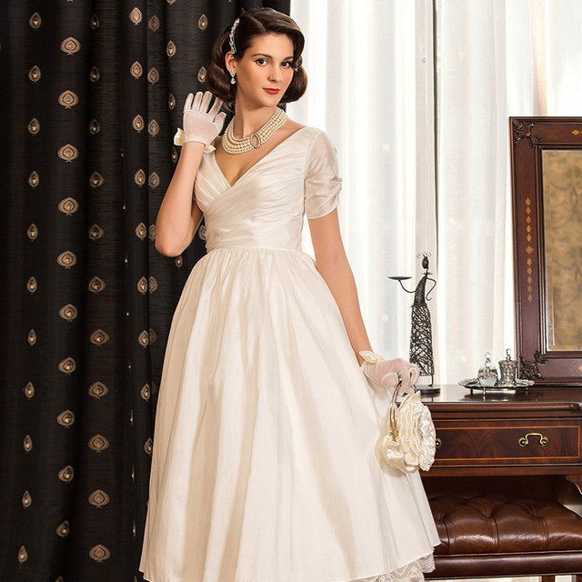 LAN TING BRIDE Simple Wedding Dress A Line Princess V Neck Tea Length Short  Sleeves Taffeta Wedding Gown With Lace