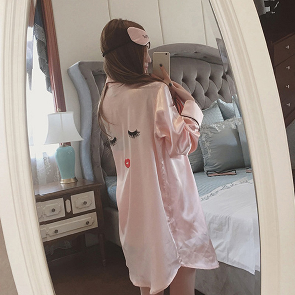 ce9b4d4856 4 Pieces Women Summer Pajamas Top Shorts Robe Eye Mask Sleepwear Clothing  Set -in Pajama Sets from Underwear   Sleepwears on Aliexpress.com