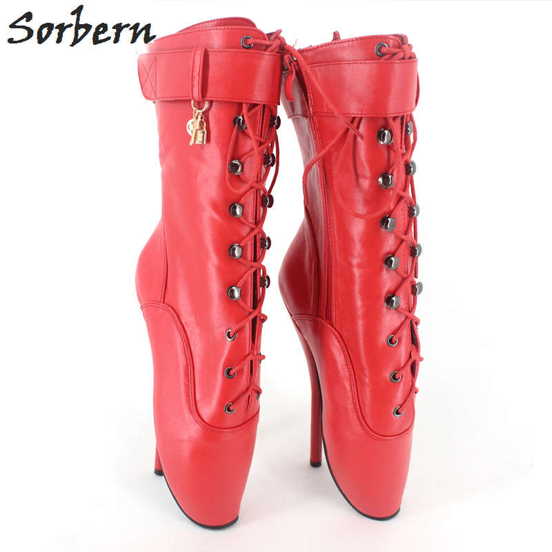Sorbern 18CM Women Boots Fetish Ballet Heels Lace Up Plus Size Ladies Party Boots Gay Cosplay Boot Custom Color Shoes plus size light up cosplay party skirt