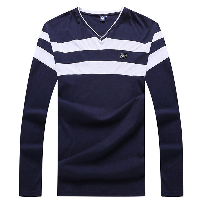 Coton Marque Manches 6xl Beige Tee T 10xl 2018 5xl Shirt Tops Vêtements Nouveau Été T Printemps 8xl Longues 4xl V À Col black shirt Hommes Patchwork Uqw751w