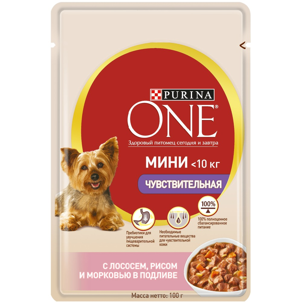 Wet food for dogs of small breeds Purina One Mini Sensitive, with salmon, rice and carrots in gravy, Pouch, 24x100 g. jiqi 100w portable pro smart mini food automatic sealing machine one button vacuum sealer for seal pack opp pe plastic bag
