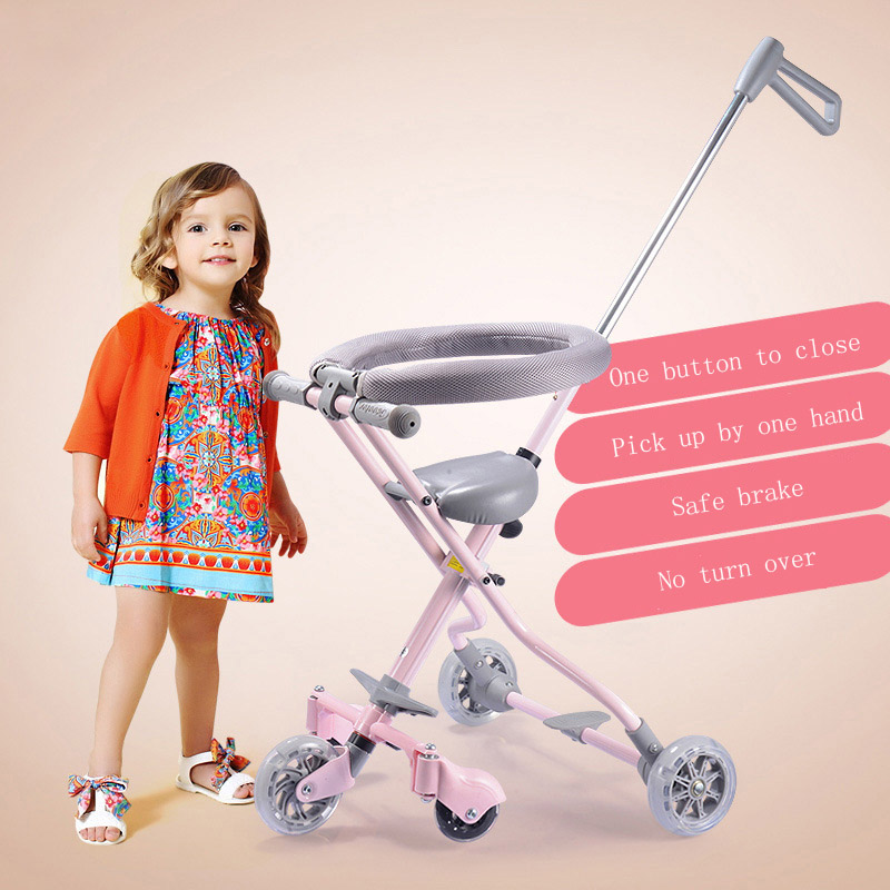 Baby tricycle baby trolley for 1-7 years Simple portable hand push child folding Four-wheel&Five wheel baby carriage green children s tricycle childs vehicles with push push folding bicycles baby bicycles child bicycles
