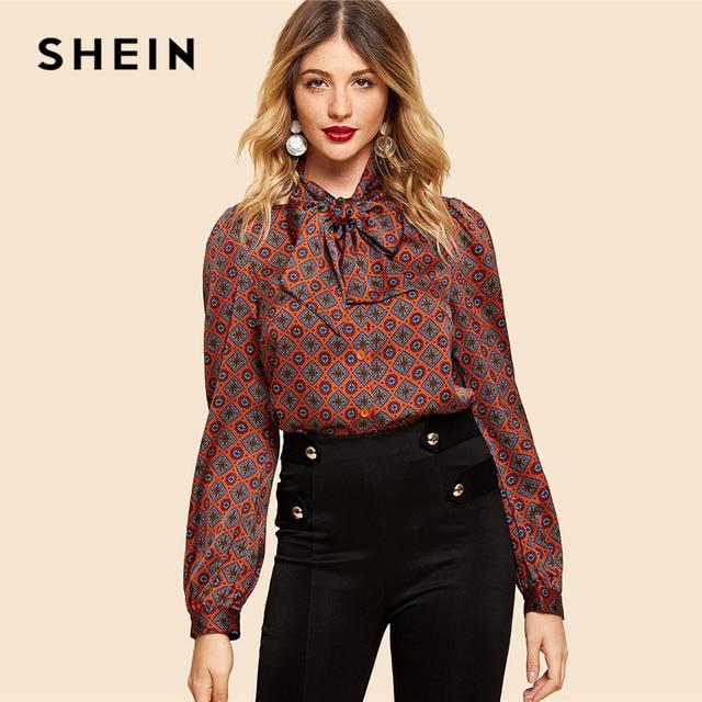 4b17b2043624a SHEIN Rust Button Front Tie Neck Tribal Shirt Vintage Elegant Long Sleeve  Blouses Women Workwear Modern