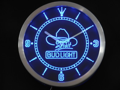 nc0484 Bud <font><b>Light</b></font> George Strait Neon Sign LED Wall Clock