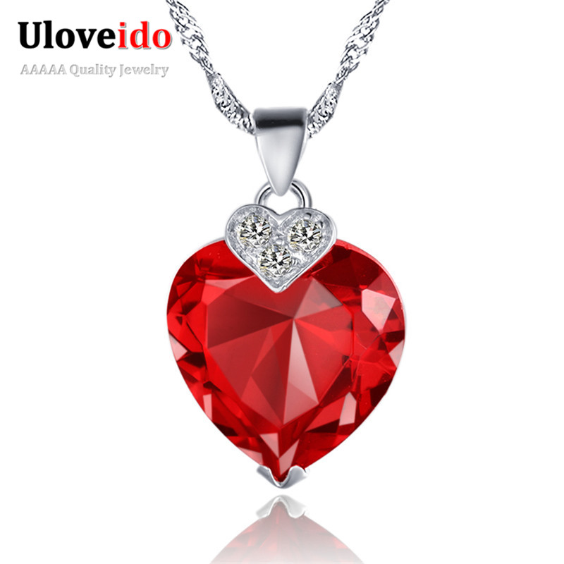 Uloveido Vintage Heart Necklace With Stones And Crystals