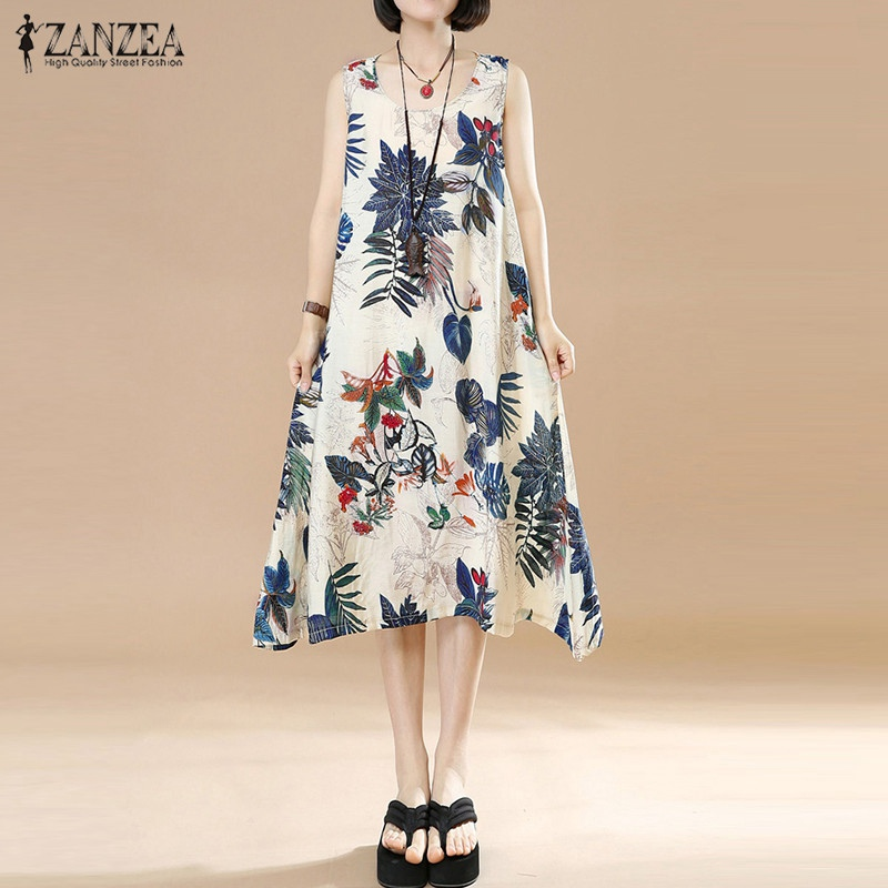 ZANZEA Women Summer Dress 2018 Vintage Random Floral Print Loose Dresses Casual Sleeveless O Neck Midi Vestidos Plus Size