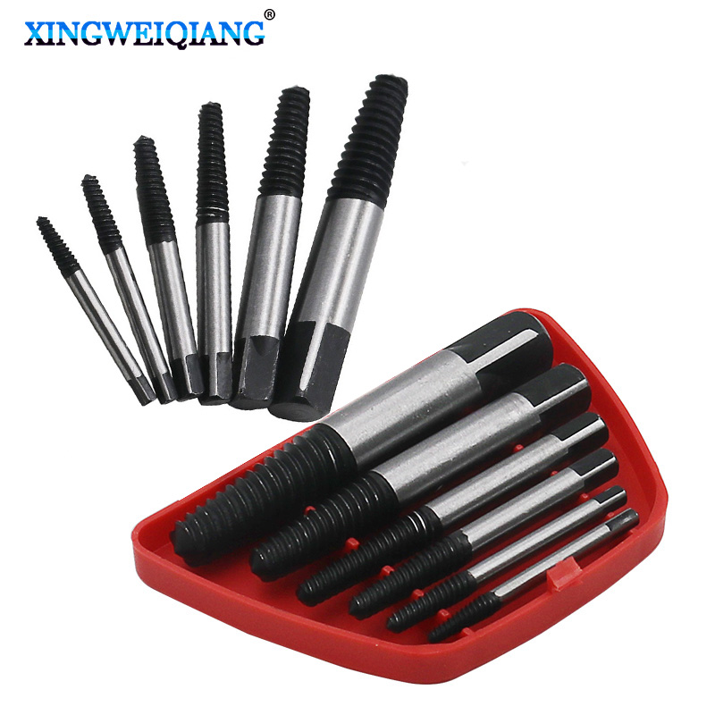 цена на 6pcs/Case Screw Extractor Center Drill Bits Guide Set Broken Damaged Bolt Remover Removal Speed Easy Out Set