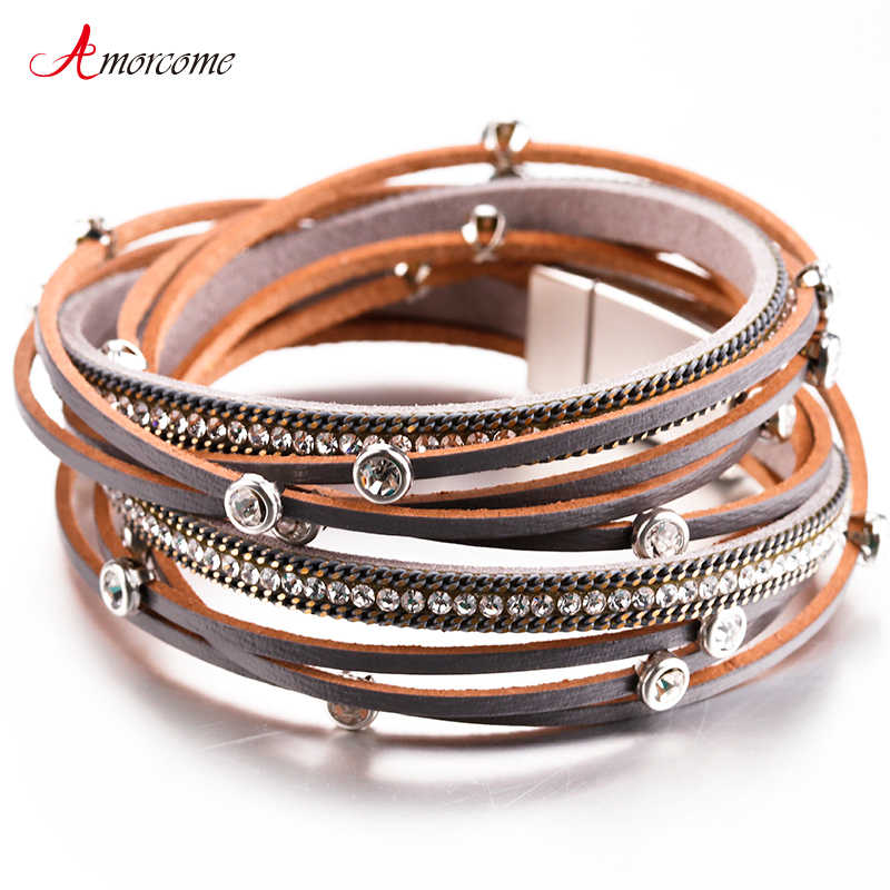 Amorcome Leather Bracelet Female Trendy Rhinestone Crystal Charm Femme Multilayer Bracelets & Bangles For Women Jewelry